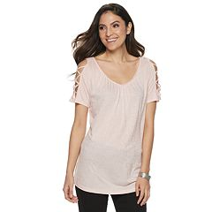 43d9596824e87 Women s Jennifer Lopez Strappy Cold-Shoulder Tee