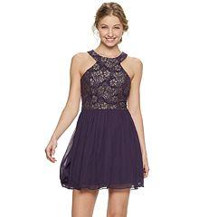 Juniors' Speechless Foil Lace Fit & Flare Dress