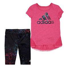 Toddler Girl adidas High-Low Hem Tunic & Splatter Capris Set