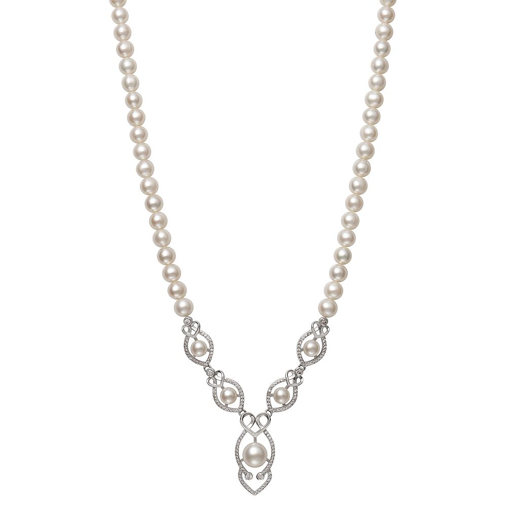 Sterling Silver Freshwater Cultured Pearl & Cubic Zirconia Y Necklace