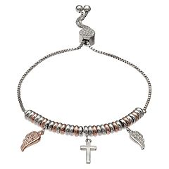 Brilliance Two-Tone 'Faith' Ring & Charm Bracelet with Swarovski Crystals