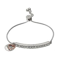 Brilliance 'Mother Daughter' Charm Bar Bracelet with Swarovski Crystals