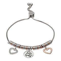 Brilliance 'Mother Daughter' Two-Tone Rings & Charms Bracelet with Swarovski Crystals