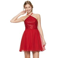 Juniors' Speechless Y-Neck Skater Dress