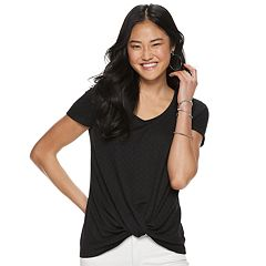 Juniors' Candie's® Short Sleeve Knot Front Tee