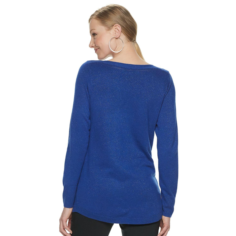 Women's Apt. 9® Lurex Shirttail Hem Pullover Sweater