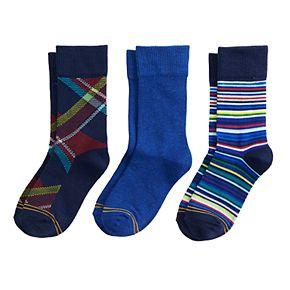Boys 4-20 GOLDTOE Plaid 3-Pack Crew Socks