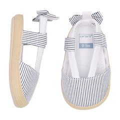 Baby Girl Carter's Striped Espadrille Crib Shoes
