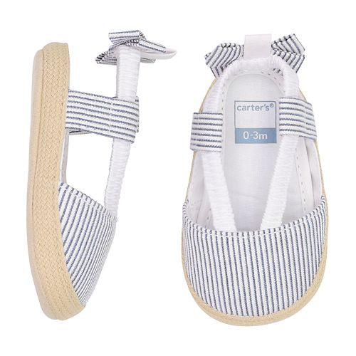 19665ab51aba2 Baby Girl Carter s Striped Espadrille Crib Shoes