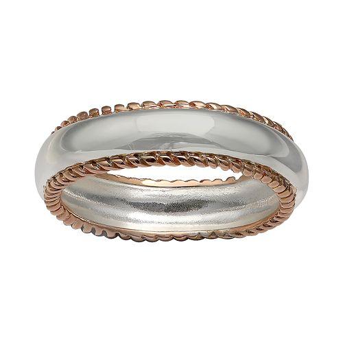 PRIMROSE Two-Tone Braided Band Ring