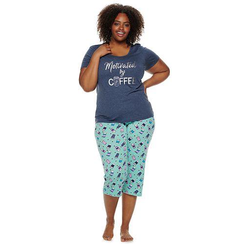 Plus Size Be Yourself Sleep Tee & Capri Pajama Set