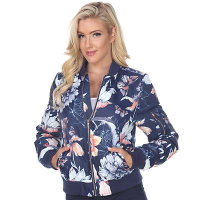 NEW! Women's White Mark Floral Bomber Jacket