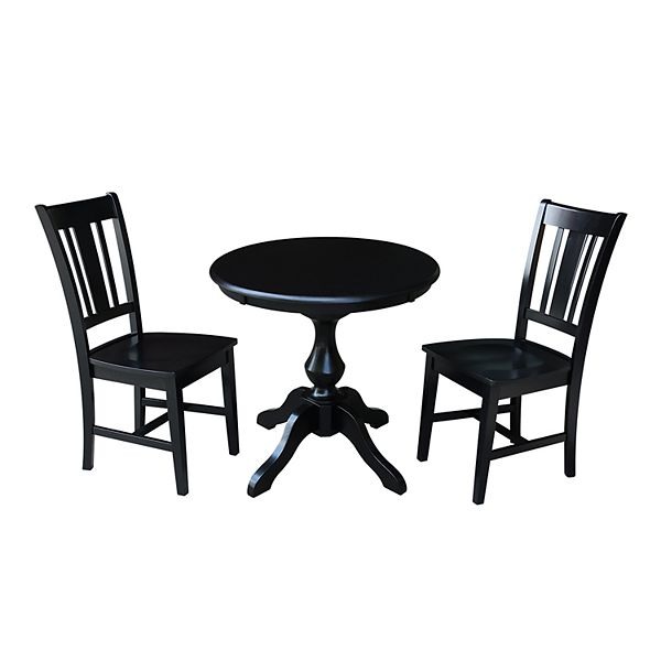 International Concepts Round Pedestal Dining Table Chair 3 Piece Set