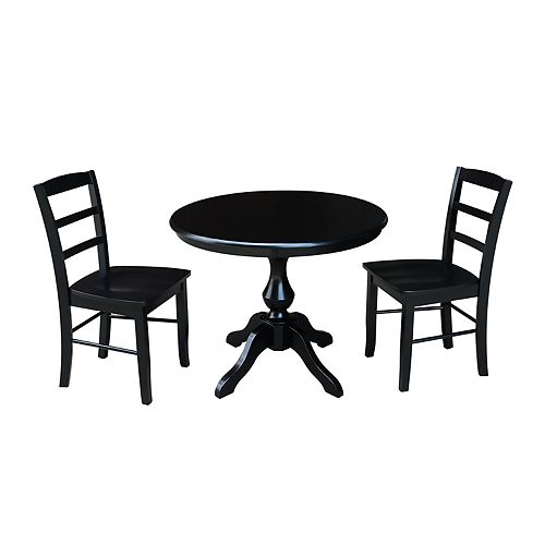 International Concepts Round Pedestal Dining Table & Madrid Chair 3-piece Set