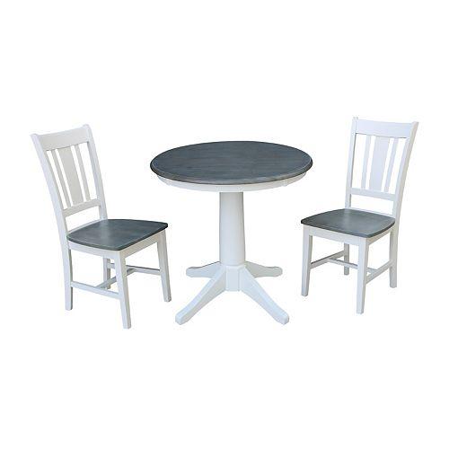 International Concepts Pedestal Dining Table & San Remo Chair 3-piece Set