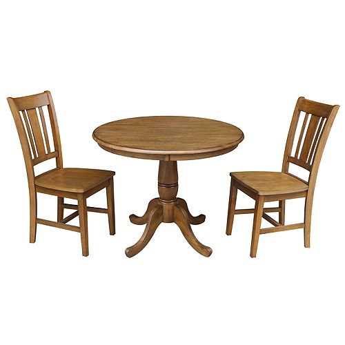 International Concepts Round Pedestal Dining Table & Chair 3-piece Set