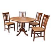 International Concepts Round Pedestal Table & Chair 6-piece Set