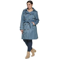 ae12fee75ef Plus Size TOWER by London Fog Hooded Double-Breasted Trench Coat
