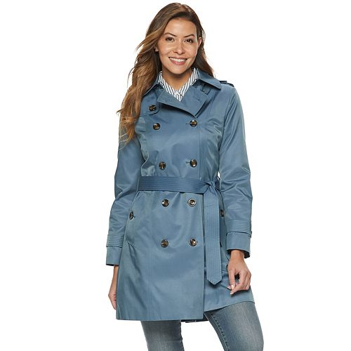 d827d5848 Women's TOWER by London Fog Hooded Double-Breasted Trench Coat