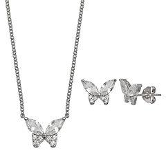 PRIMROSE Sterling Silver Cubic Zirconia Butterfly Necklace & Stud Earring Set