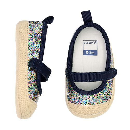 Baby Girl Carter's Espadrille Glittery Mary Jane Crib Shoes