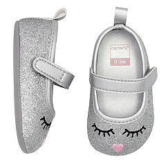 Baby Girl Carter's Glitter Face Mary Jane Crib Shoes