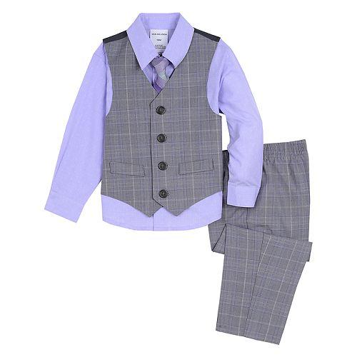 Baby Boy Van Heusen 4 Pc Plaid Vest, Shirt, Pants & Tie Set
