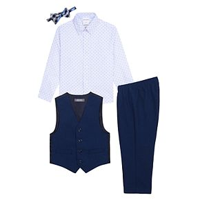Baby Boy Van Heusen 4 Pc Vest, Patterned Shirt, Pants & Bow Tie Set