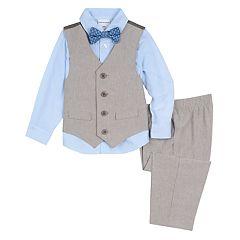 Baby Boy Van Heusen 4 Pc Linen Vest, Shirt, Pants & Bow Tie Set