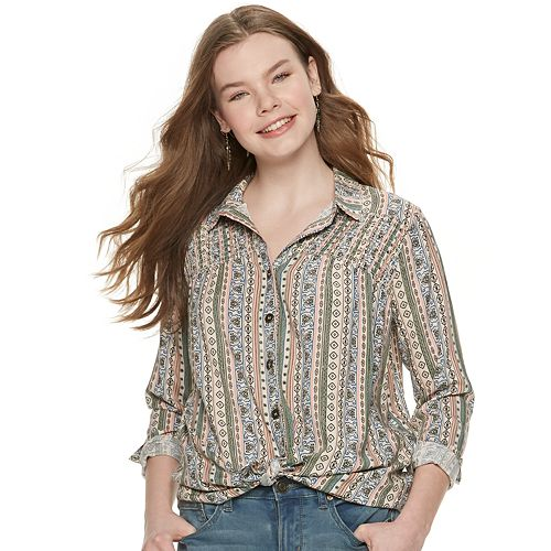 Juniors' Hint of Mint Print Knot-Front Blouse