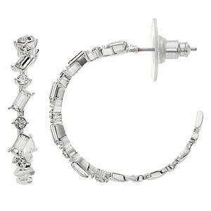 Brilliance Baguette Hoop Earrings with Swarovski Crystals