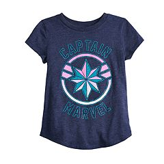 Girls 4-12 Jumping Beans® Captain Marvel Shield Glitter Graphic Tee