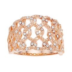 Brilliance Rose Gold Tone Open Braid Ring with Swarovski Crystals