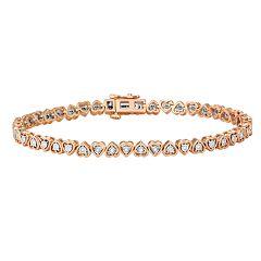 1/4 Carat T.W. Diamond Gold Tone Sterling Silver Heart Bracelet
