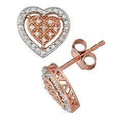 1/10 Carat T.W. Diamond Two Tone Sterling Silver Heart Stud Earrings