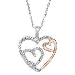 1/10 Carat T.W. Diamond Two Tone Sterling Silver Heart Pendant Necklace
