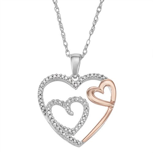 1/10 Carat T.W. Diamond Two Tone Sterling Silver Heart Pendant Necklace