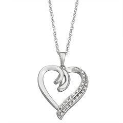 1/10 Carat T.W. Diamond Sterling Silver Heart Pendant Necklace