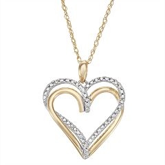 Two-Tone Sterling Silver 1/10 Carat T.W Diamond Heart Pendant Necklace
