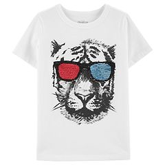 Boys 4-14 OshKosh B'gosh® Flip Sequins Sunglasses Leopard Tee