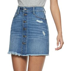 Juniors' Mudd® Button-Front Deconstructed Denim Skirt