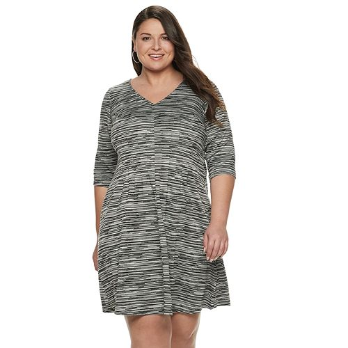 Women's Plus Size Suite 7 Long Sleeve V-Neck Fit & Flare Dress