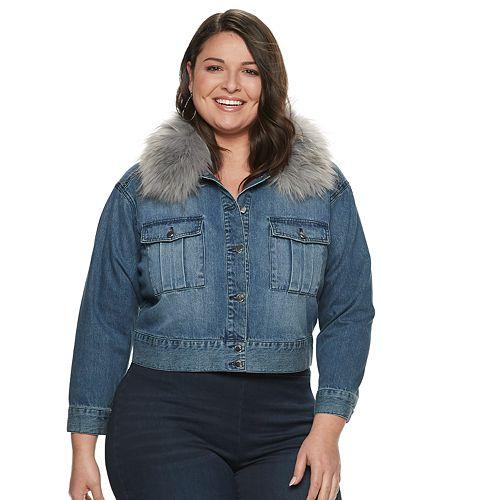 Plus Size Jennifer Lopez Removable Faux-Fur Collar Jean Jacket