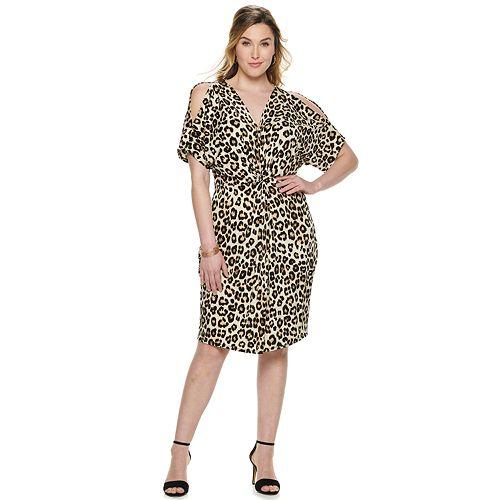 Plus Size Jennifer Lopez Cold-Shoulder Kimono Dress
