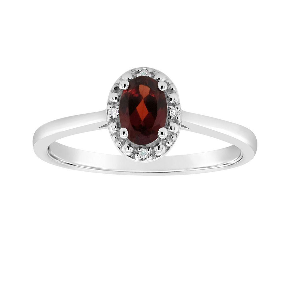 Sterling Silver Oval Genuine Garnet Diamond Accent Frame Ring