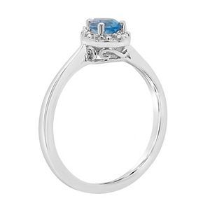Sterling Silver Pear Shaped Genuine Aquamarine Diamond Accent Frame Ring