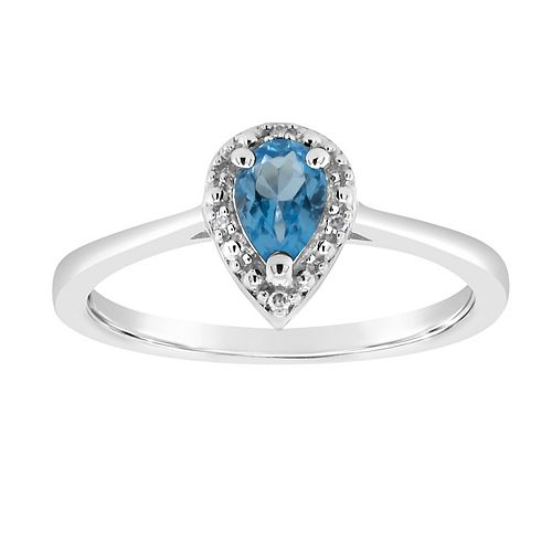 CUTE AQUAMARINE LIGHT BLUE HEART C.Z STONE RING Genuine SterlingSilver Size 10