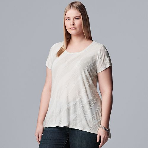 Plus Size Simply Vera Vera Wang Textured Tee