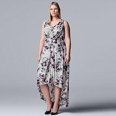 Plus Size Simply Vera Vera Wang Printed High-Low Dress