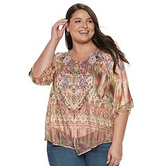 3d1b6160102 Plus Size World Unity Printed Bell Sleeve Top
